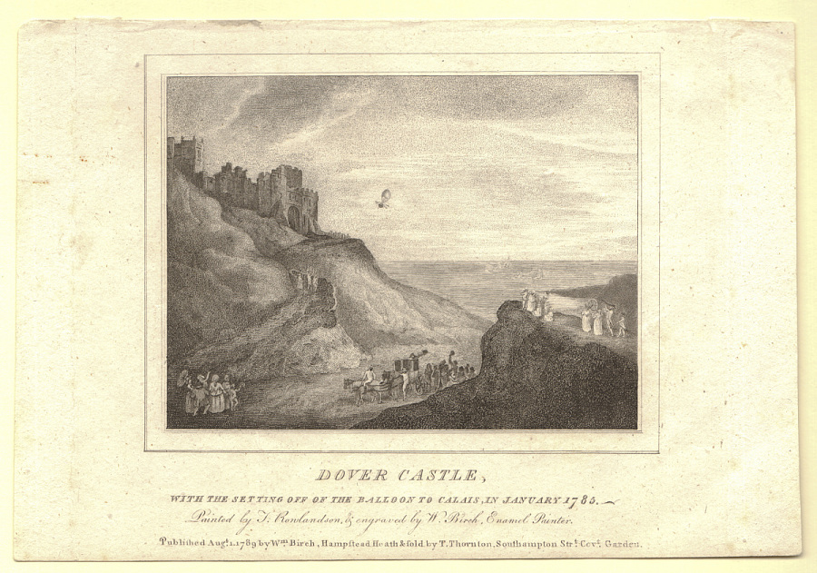 Dover Castle, with the Setting off of the Balloon to Calais, in January 1785.