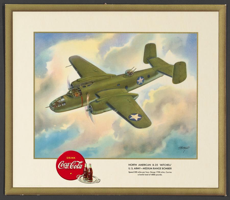 "Poster, Advertising, NORTH AMERICAN B-25 ""MITCHELL"" U.S. ARMY-MEDIUM RANGE BOMBER"