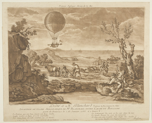 Dedié à Mr. Blanchard, Pensioné du Roi, Citoyen de Calais. Apparition du Globe Aerostatique de Mr. Blanchard entre Calais et Boulogne, parti de Douvres le 7 de Janvier 1785 à 1 heure 1/2.