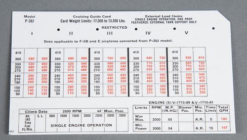 Guide Card, Cruising, Felsenthal, P-38J, Card No. 103