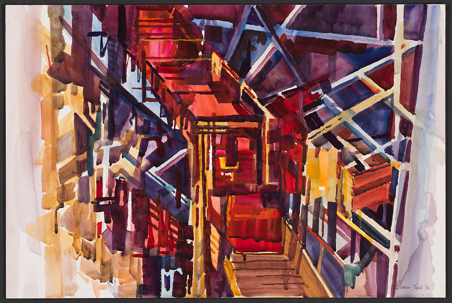 Painting, Watercolor on Board, VAB LIGHTS