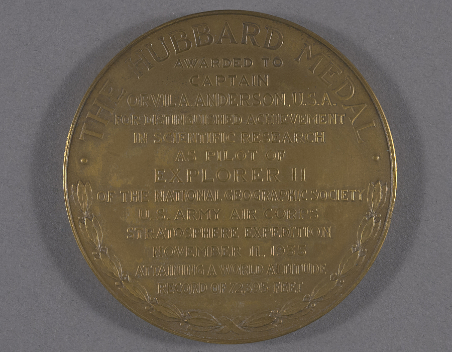 Medal, National Geographic Society Hubbard Medal, Captain Orvil Anderson