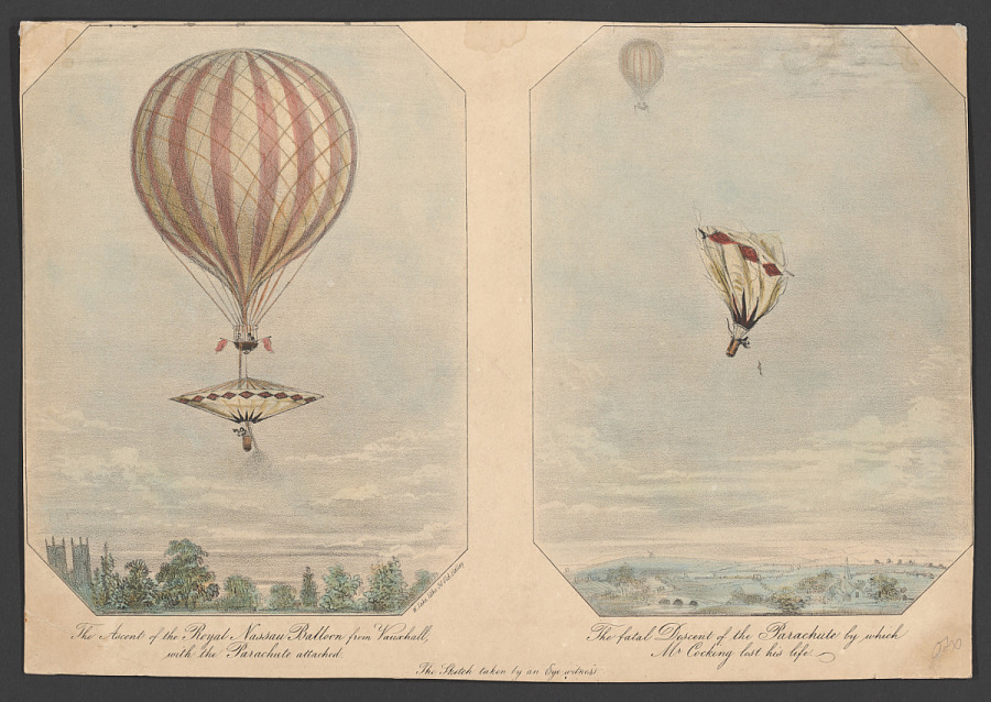 Print, Lithograph on Paper, Colored, THE ASCENT OF THE ROYAL NASSAU BALLOON FROM VAUXHALL AND THE FATAL DESCENT OF THE PARACHUTE