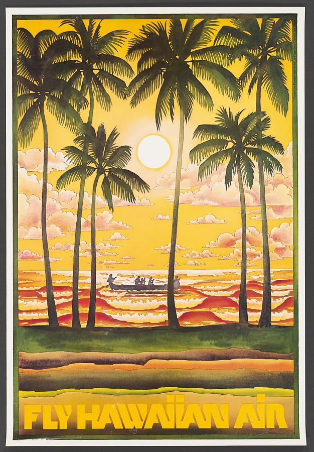 Poster, Advertising, Commercial Aviation, FLY HAWAIIAN AIR