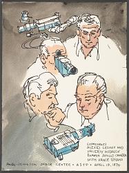 Cosmonauts Examine Apollo Camera