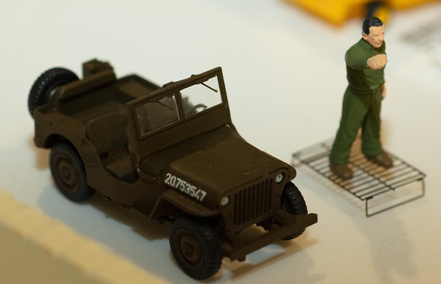 Model, Jeep with Mechanic, Lockheed F-5L Lightning