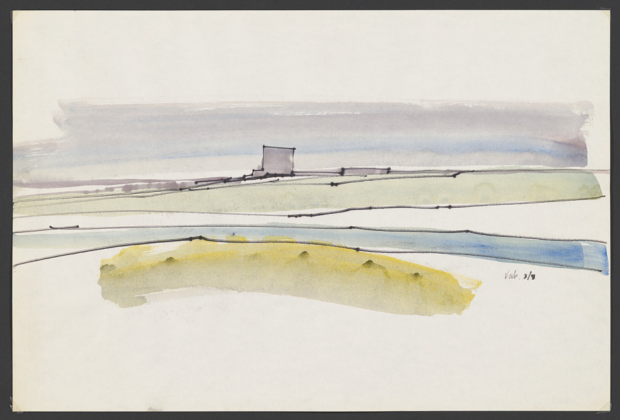 Felt Tip Pen and Watercolor on Paper, VAB IN THE DISTANCE