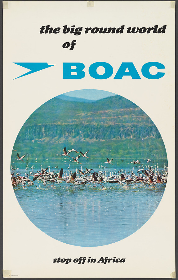Poster, Advertising, Commercial Aviation, THE BIG ROUND WORLD OF BOAC - STOP OFF IN AFRICA