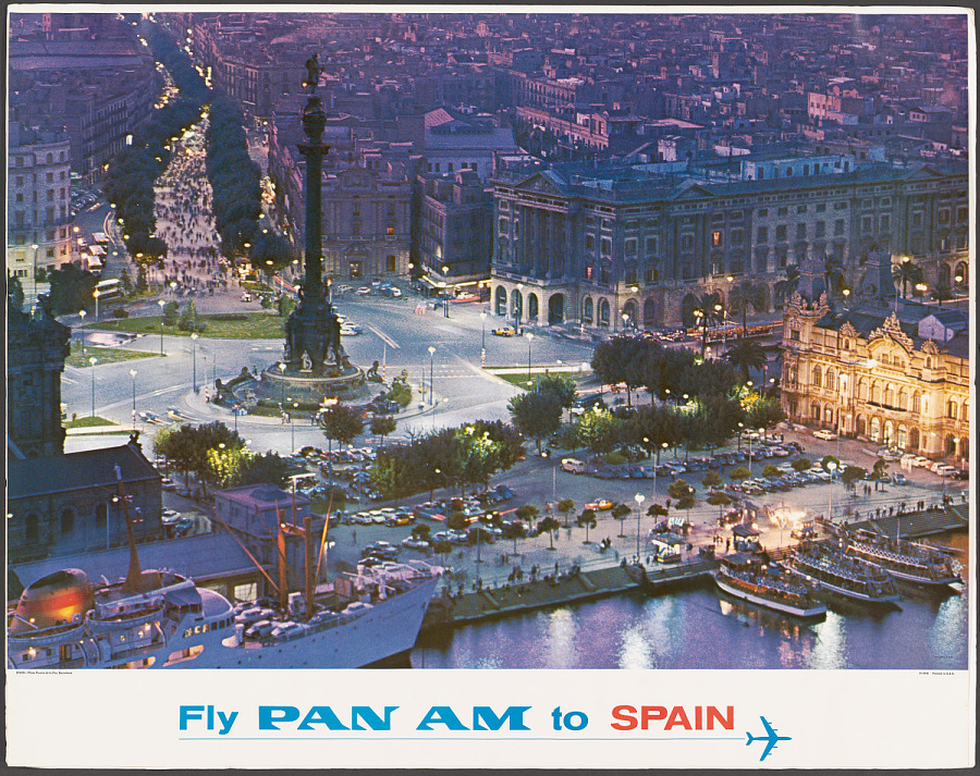 Poster, Advertising, Commercial Aviation, FLY PAN AM TO SPAIN