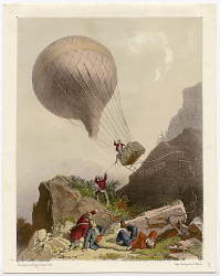 [Unknown Title: Rough ascent or descent of balloon and gondola in mountains. One of a series of 4 images of flight and fall of balloon.]