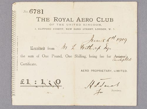 Certificates, Airship Pilot, Royal Aero Club, M. Lester Witherup