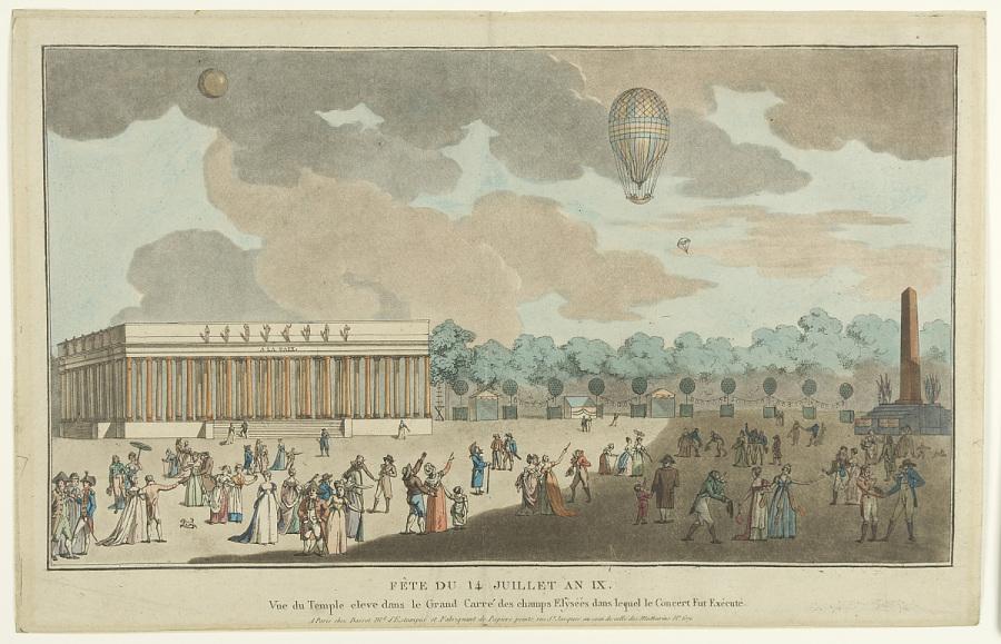 Fête du 14 Juillet an IX. Vue du Temple eleve dans le Grand Carré des champs Elyseés dans lequel le Concert Fut Exécuté.