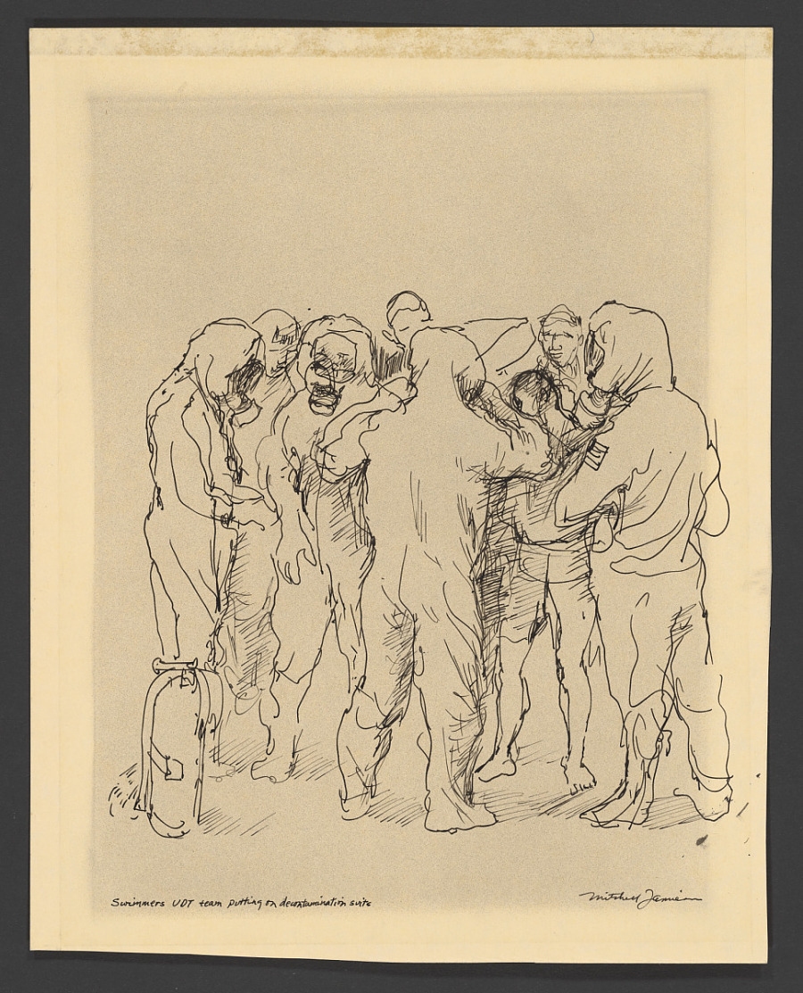 Drawing, Pen and Ink on Paper, SWIMMERS UNDERWATER DEMOLITION TEAM (UDT) PUTTING ON DECONTAMINATION SUITS
