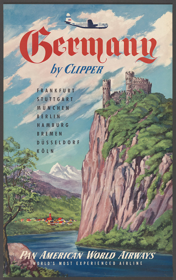 Poster, Advertising, Commercial Aviation, PAN AMERICAN WORLD AIRWAYS GERMANY BY CLIPPER