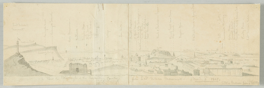 Drawing, Pencil on Paper, Uncolored, A VIEW OF EDINBURGH & THE SURROUNDING COUNTRY FROM LORD NELSON'S MONUMENT. NOVR. 3RD 1815. SADLER'S BALLOON FROM COLLEGE.