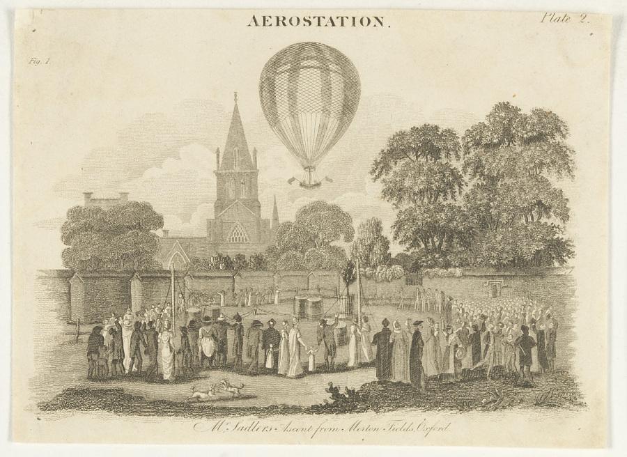 Aerostation. Mr. Sadler's Ascent from Merton Fields, Oxford.