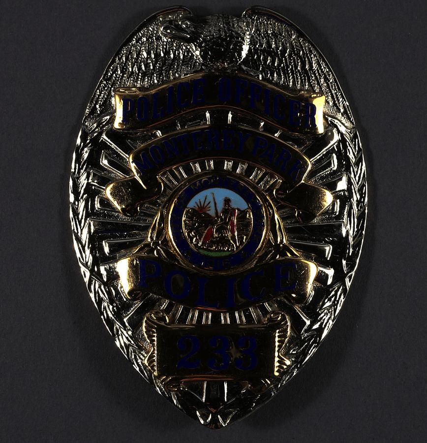 Badge, Metal, Police Officer, R. Payne, Monterey Park