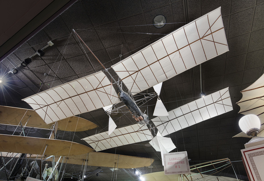 Canvas and wood Langley Aerodrome Number 5 aircraft hanging in museum