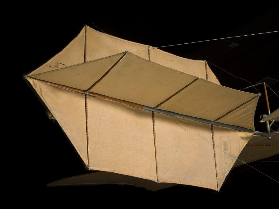Canvas covered diamond-shaped tail of Langley Quarter-scale Aerodrome aircraft