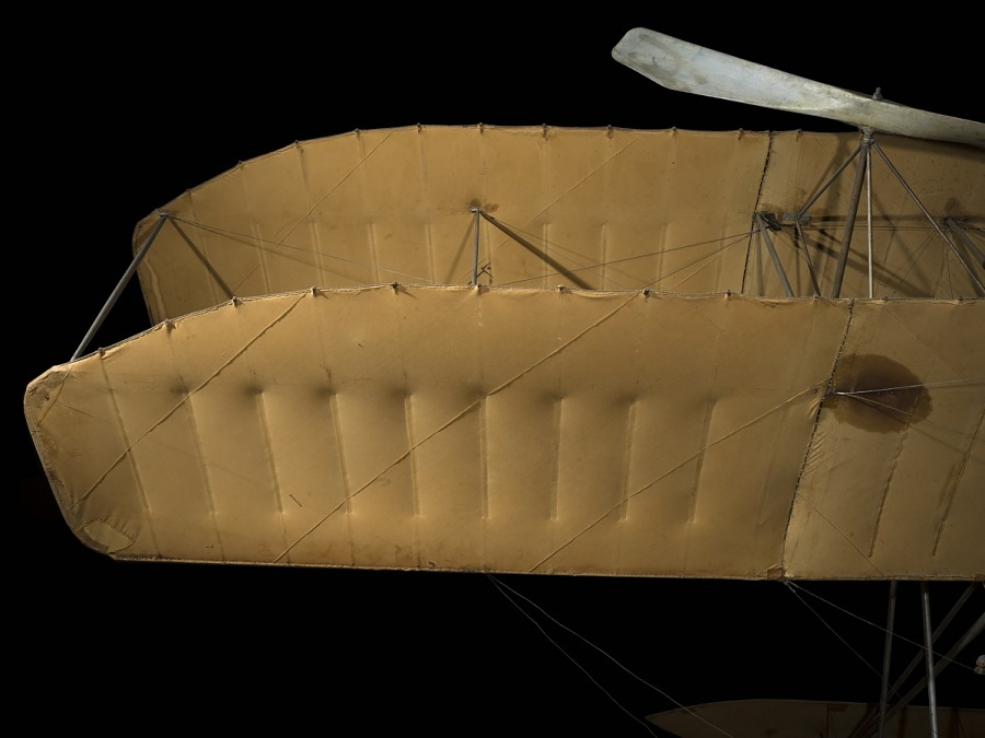 Canvas covered wing of 1909 Wright Military Flyer aircraft