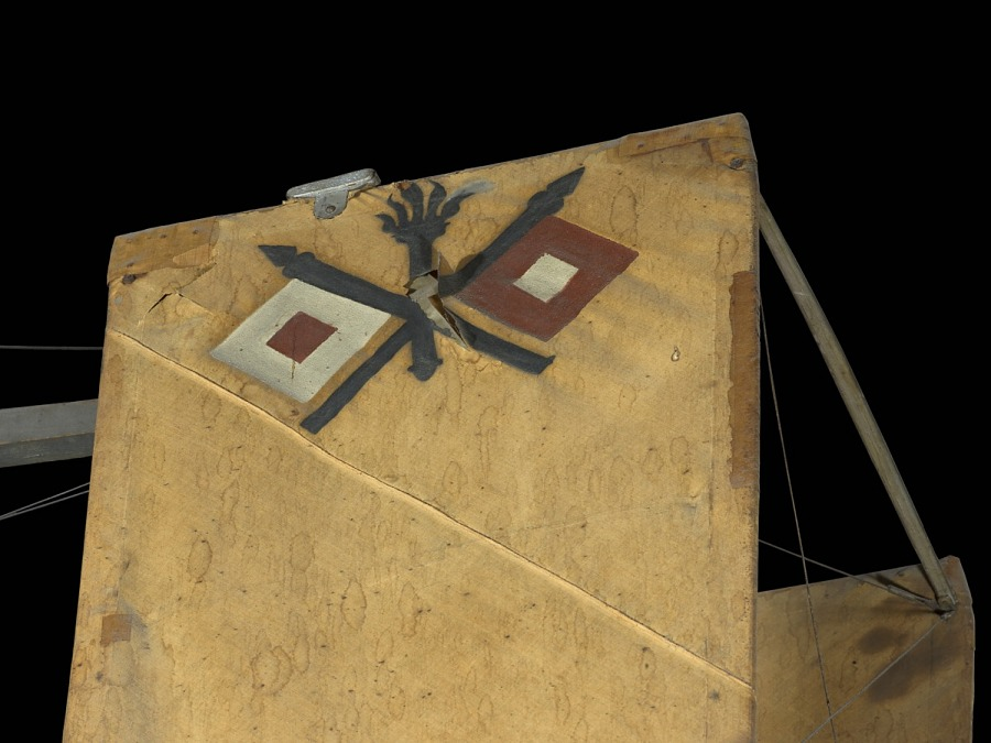 Diamond and cross detail on canvas 1909 Wright Military Flyer aircraft