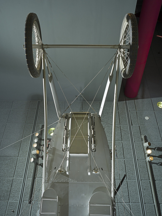 Bottom view of two wheels and framing of Voisin Type 8 aircraff