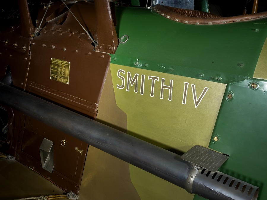 'Smith' in brown lettering on body of Spad XIII 'Smith IV' aircraft