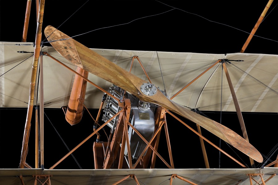 Wooden propeller, orange framing, and fabric covering for the Curtiss D-III Headless Pusher