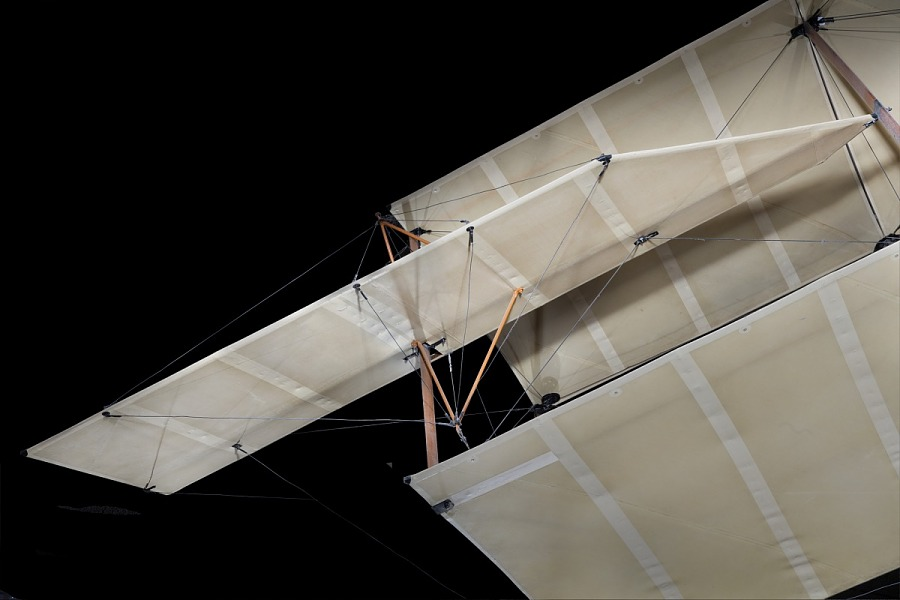 Detail view of fabric covering and rigging from Curtiss D-III Headless Pusher
