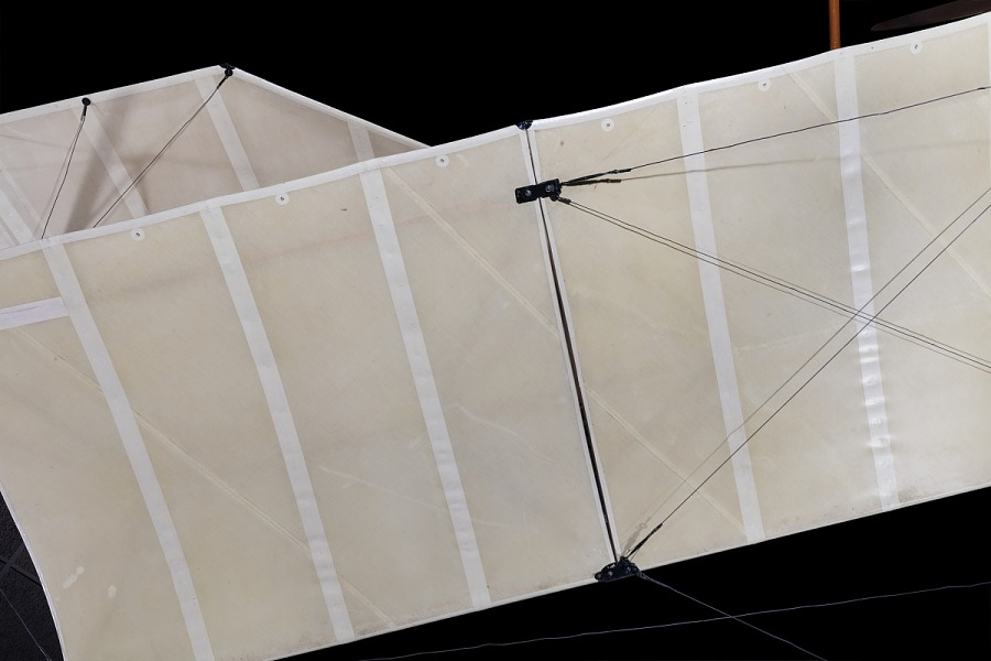 Detail view of canvas wing covering from Curtiss D-III Headless Pusher