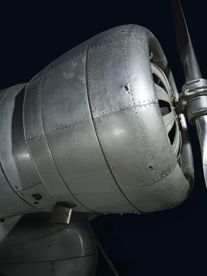 Front engine of metal Northrop Gamma Polar Star aircraft