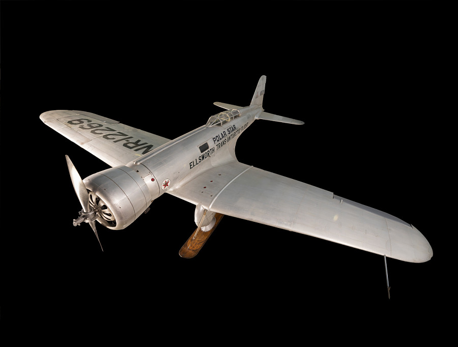 Top view of metal aircraft, Northrop Gamma 'Polar Star'