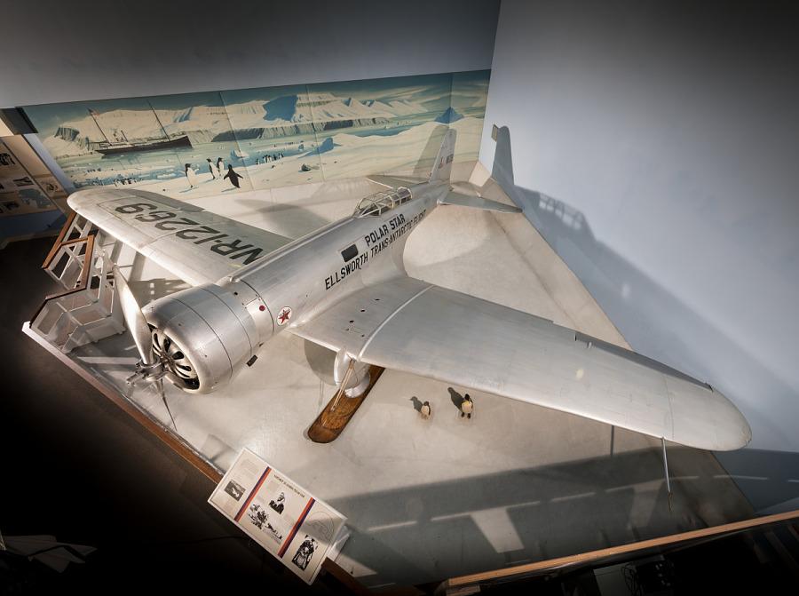 Top of metal Northrop Gamma 'Polar Star' aircraft in museum