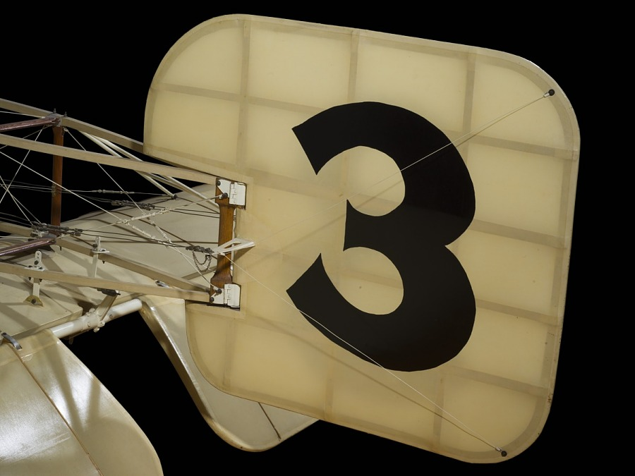 Tail of Bleriot XI with tail and '3' in large black lettering