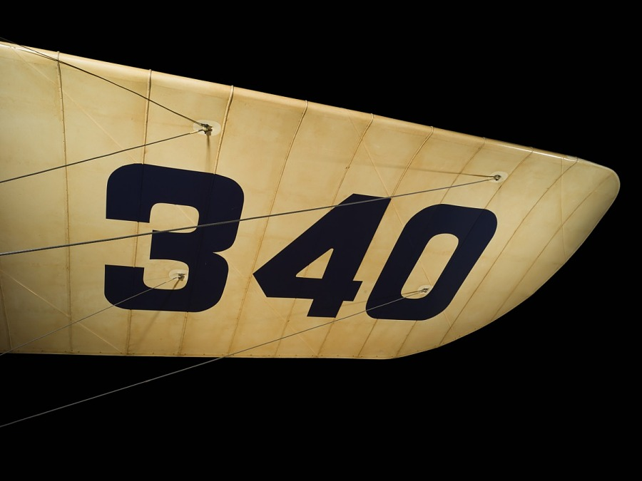 Canvas covered wing of Bleriot XI aircraft with '340' in large black lettering