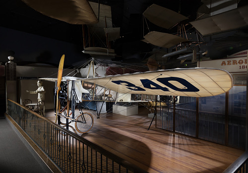 Wood and fabric Bleriot XI aircraft in museum