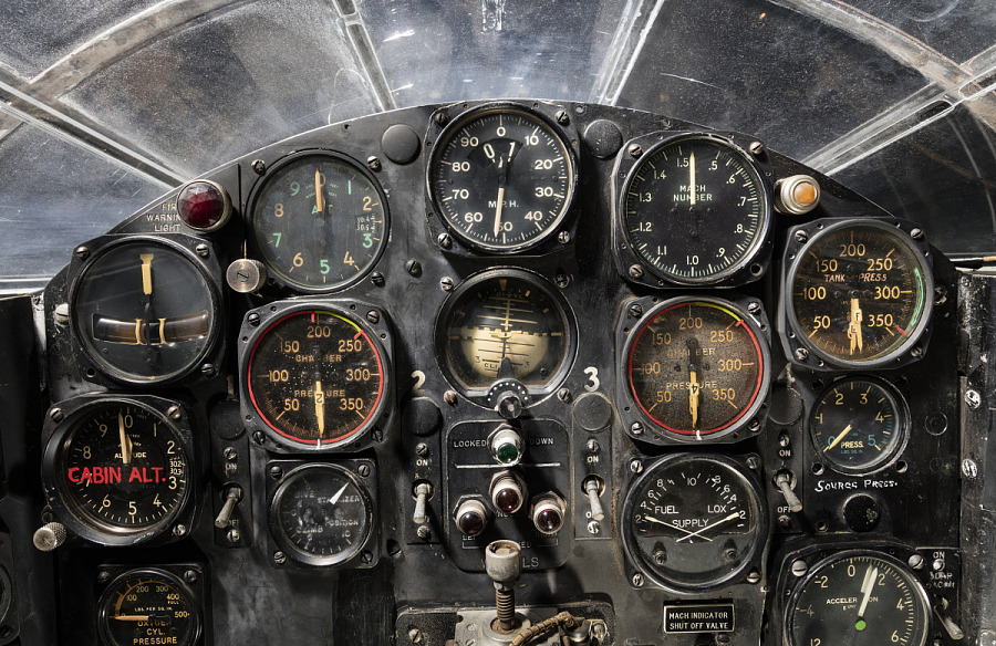 View of flight instrument panel in the cockpit of the Bell X-1