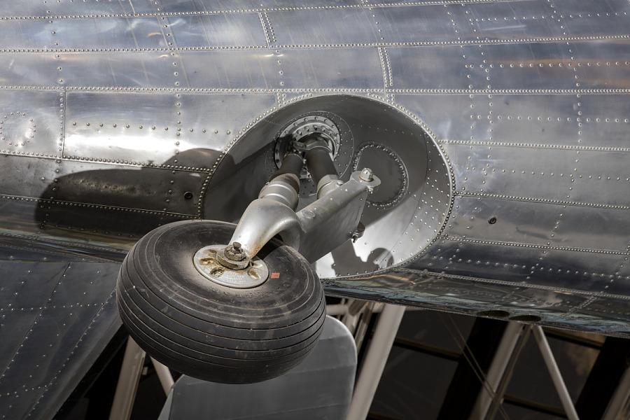 Wheel on bottom of Douglas DC-3 aircraft