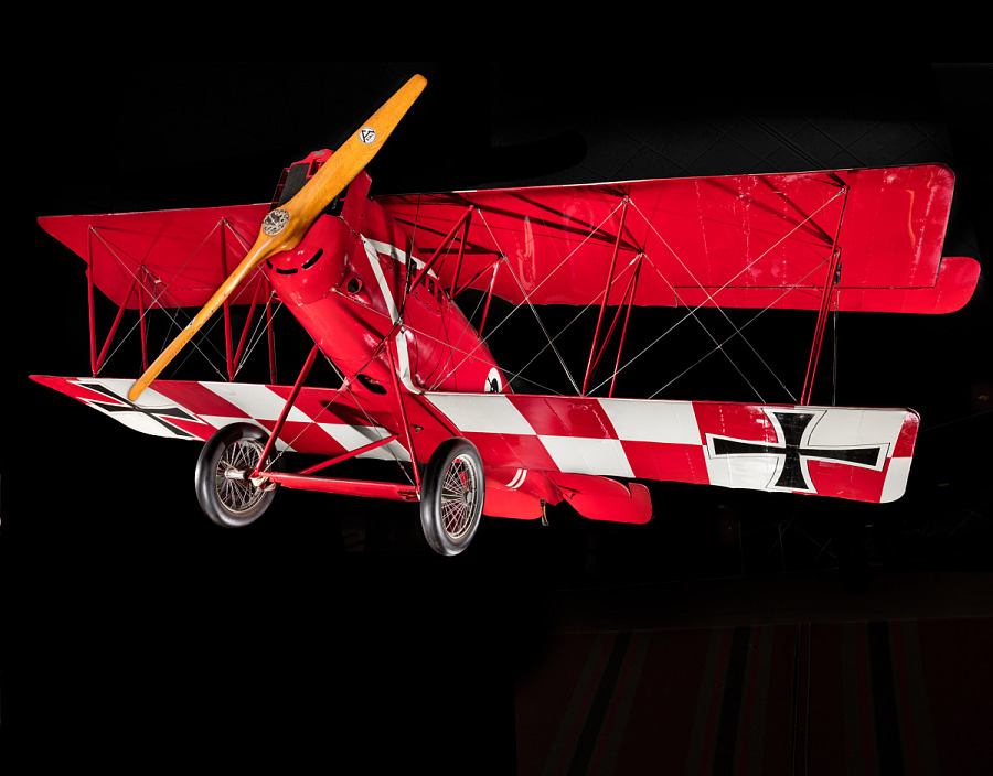 Red and white Pfalz D.XII aircraft