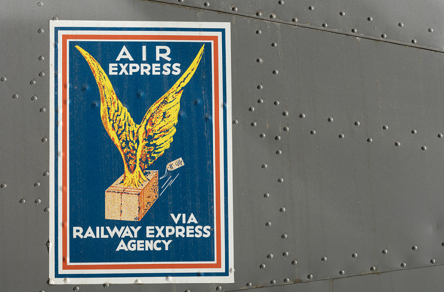 Air Express rectangle logo with box with eagle wings on body of Boeing 247-D aircraft