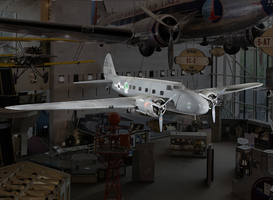 Gray twin-engine Boeing 247-D aircraft in museum
