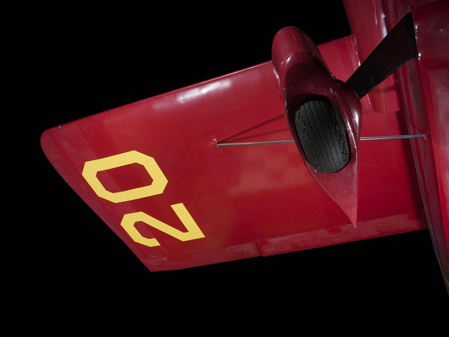 """Yellow """"20"""" on underwing and wheel of red Wittman Special 20 """"Buster"""" aircraft"""
