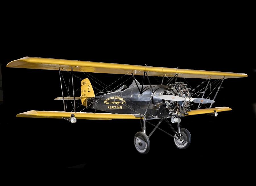 Yellow and black biplane Pitcairn PA-5 Mailwing