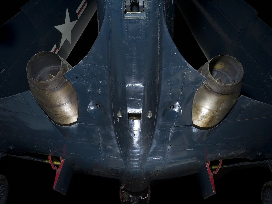 Bottom of blue McDonnell FH-1 Phantom I aircraft with two round engines attached to each wing