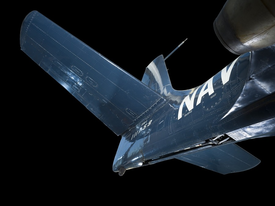 Tail of blue McDonnell FH-1 Phantom I aircraft