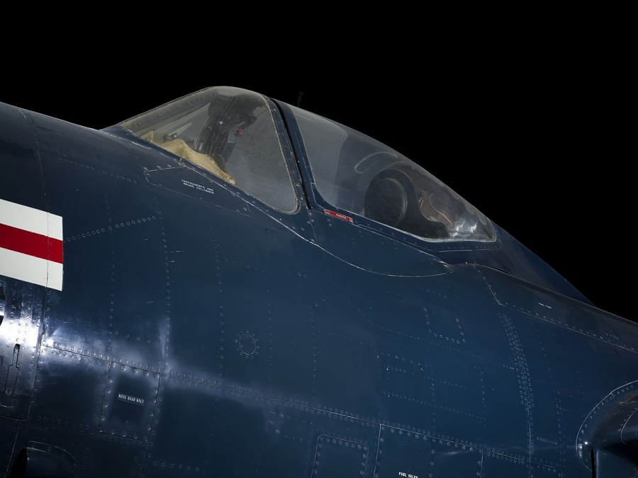Outside of cockpit of blue McDonnell FH-1 Phantom I aircraft