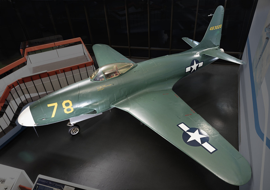 Green Lockheed XP-80 'Lulu Belle' aircraft in museum