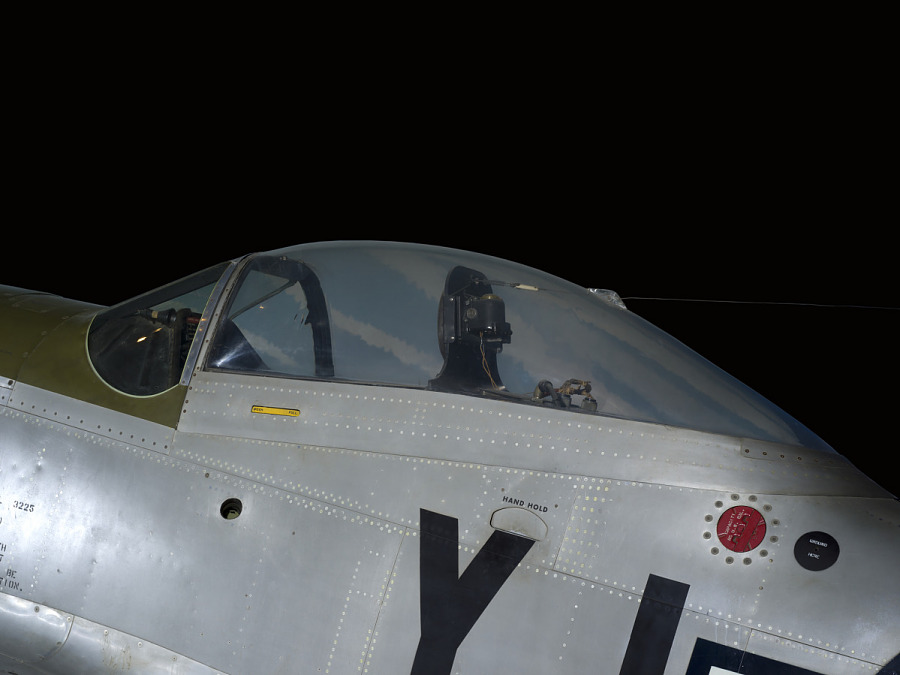 Outside of cockpit of P-51 Mustang aircraft