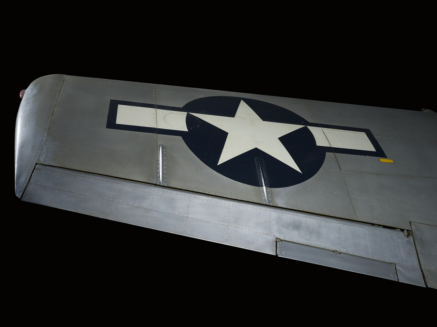 United States Air Force insignia on wing of gray P-51 Mustang aircraft