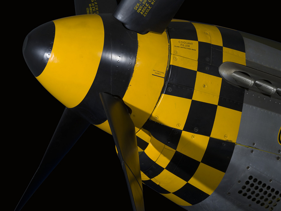 Black and yellow checkered tip of nose of P-51 Mustang aircraft